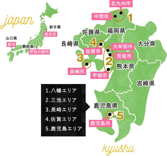 明治日本の産業革命遺産の地図